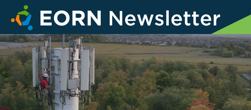 Male employee climbing telecommunications tower